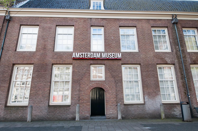 Amsterdam Museum facade in Amsterdam, Netherlands.